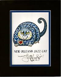 New Orleans Jazz Cat 8″ x 10″ Double Matted Print