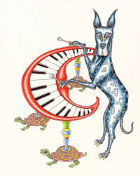 Great Dane Playing Xylophone Limited Edition Print