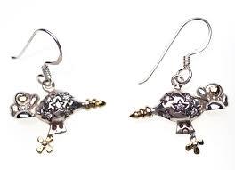 Sterling Silver Star Zeppelin Earrings with Diamonds