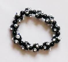 Black with White Dots Glass Bead Bracelet