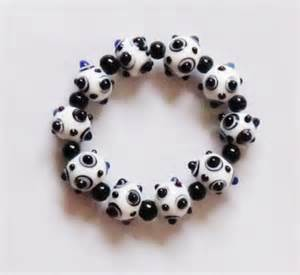 White with Black Dots Glass Bead Bracelet