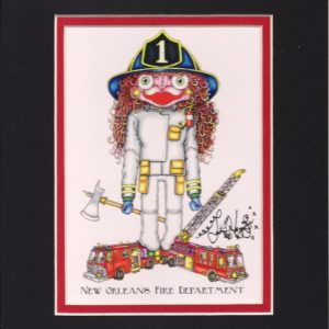 New Orleans Fire Department Double Matted 8″ x 10″ Giclee, signed