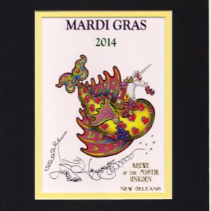 Krewe of the Mystic Unicorn Double Matted 8″ x 10″ Giclee, signed