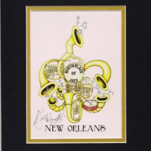 Birthplace of Jazz Horn fleur de lis Limited Edition Fine Art Giclee
