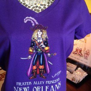 "NEW! ""Pirates Alley Princess"" ladies deep V 100% cotton T-Shirt top, Purple"