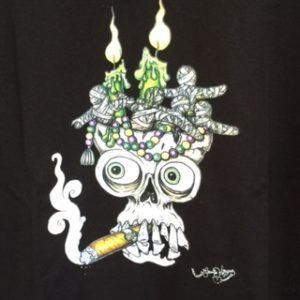 Mardi Gras Skull with cigar 100% cotton crew neck T-Shirt, Choose your shirt color!