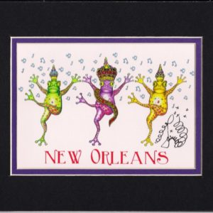 Dancing Frog Mardi Gras 2015 8″ x 10″ Fine Art Giclee, signed