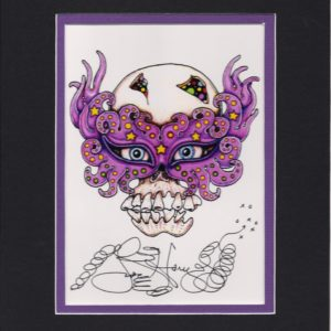 Skull with Mardi Gras Mask 8″ x 10″ Fine Art Giclee, signed