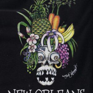 Carmen Miranda Skull Ladies 100% cotton deep V-Neck T-Shirt, Black