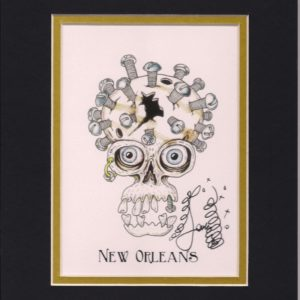 Skull with Bolts and Screws 8″ x 10″ Fine Art Giclee, signed