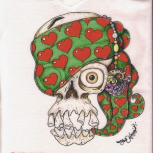 Skull with Heart Bandana Ladies 100% cotton deep V-Neck T-Shirt, white