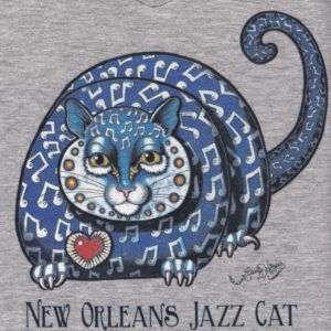 New Orleans Jazz Cat Ladies 100% cotton deep V-Neck T-Shirt, Heather Grey