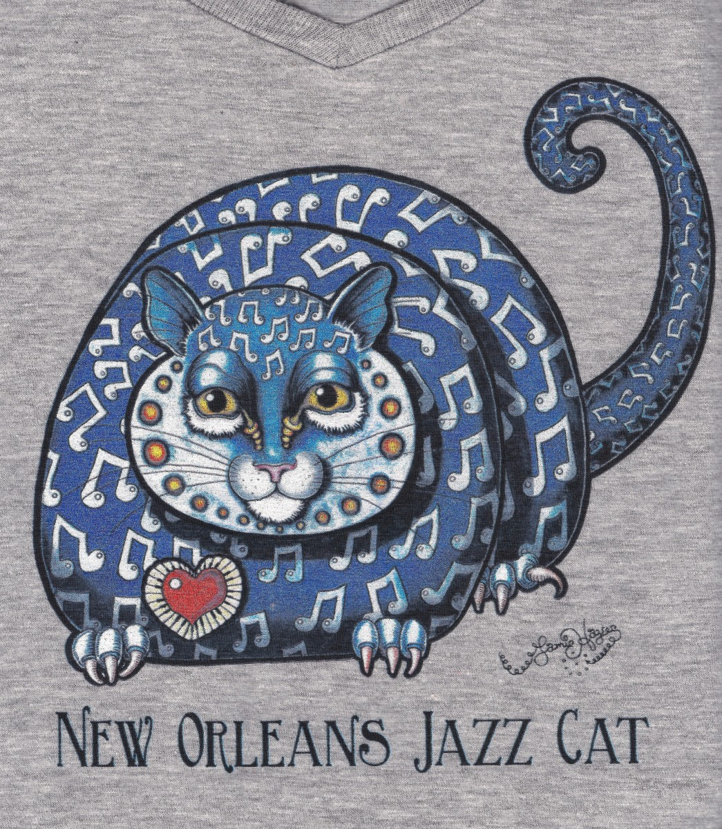 New orleans jazz cat ladies 100 cotton deep v neck t for T shirt printing new orleans