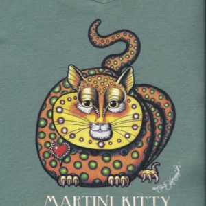 Martini Kitty Ladies 100% cotton deep V-Neck T-Shirt, Vintage Green