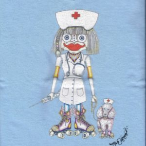 This Won't Hurt A Bit Ladies 100% cotton deep V-Neck Nurse T-Shirt, Light Blue