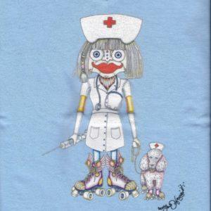 This Won't Hurt A Bit Ladies 100% cotton deep V-Neck Nurse T-Shirt, Light Blue