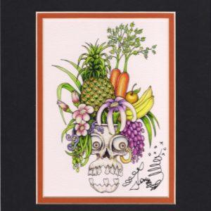 Carmen Miranda Skull 8″ x 10″ Fine Art Giclee, signed