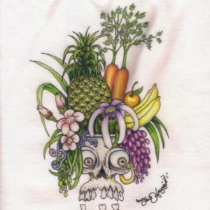 Carmen Miranda Skull Ladies 100% cotton deep V-Neck T-Shirt, White