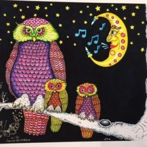 Night Owls in Moonlight fine art giclee on paper, signed and numbered by Jamie, 12″ x 16″
