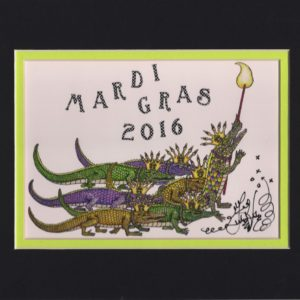 Gators on Parade Mardi Gras 2016 8″ x 10″ Fine Art Giclee, signed