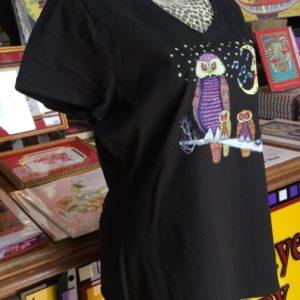 Night Owl in the Moonlight — Ladies 100% cotton deep V-Neck T-Shirt, Black
