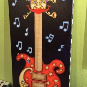 Red Guitar with Moon and brass horns Giclee on Canvas, signed, numbered and remarqued 11″ x 24.""