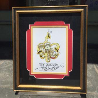 horn fleur de lis framed