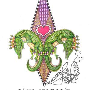 Gator Fleur de lis Mardi Gras 2015 Limited Edition Fine Art Giclee, signed 12×16