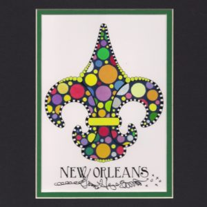 POLKA DOT FLEUR DE LIS Fine Art Giclee, matted to fit an 8″ x 10″ frame