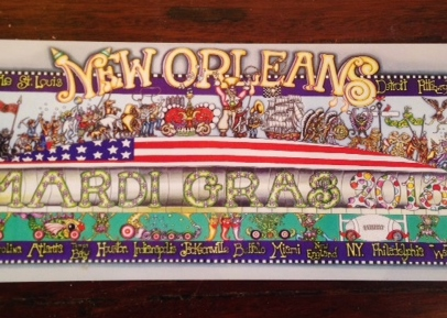 "Super Bowl/Mardi Gras 2013, 5 1/2″ x 15,"" signed"