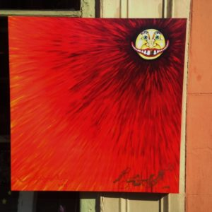 Piano Mouth Sun on Red Giclee on Canvas, signed, numbered and remarqued 24″ x 24