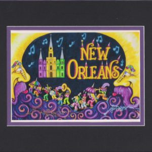 New Orleans 2nd Line Fine Art Giclee, matted to fit an 8″ x 10″ frame