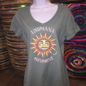 Louisiana Sunshine — Ladies 100% cotton deep V-Neck T-Shirt, Vintage Green