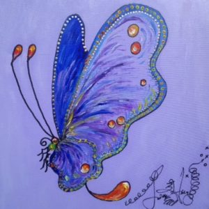 Blue Butterfly, original oil painting, 15 1/2″ x 15 1/2″