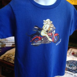 Dogs Riding Harley Kids 100% cotton  T-Shirt, blue