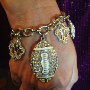 Crystal Football Charm Bracelet with Fleur de Lis