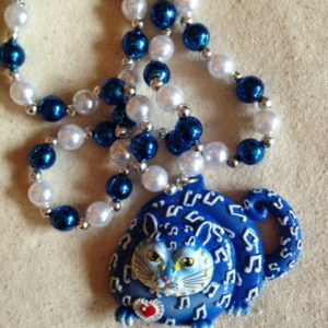 New Orleans Jazz Cat Mardi Gras Bead, hand painted