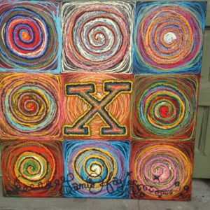 9 Square Circle Painting, original oil painting, 39″ x 39″