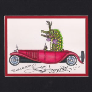 Gator Driving Bugatti Fine Art Giclee, matted to fit an 8″ x 10″ frame