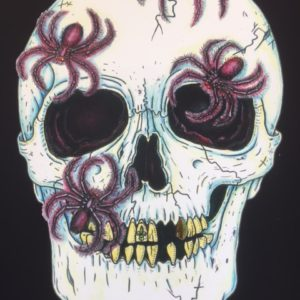 SPIDER SKULL  Limited Edition Fine Art Giclee, signed 12 X 16 Black background version