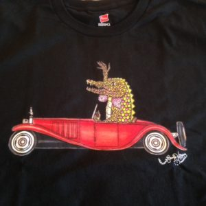 Gator Driving a Bugatti Unisex Crew Neck 100% cotton T-shirt, Choose your color!