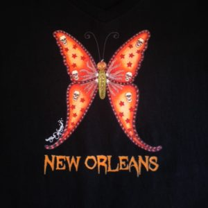 Halloween Butterfly — Ladies 100% cotton deep V-Neck T-Shirt, Black