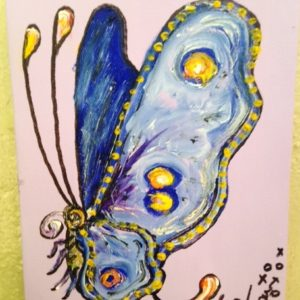 Blue Butterfly Original Oil Painting by Jamie Hayes, 6″x 8″