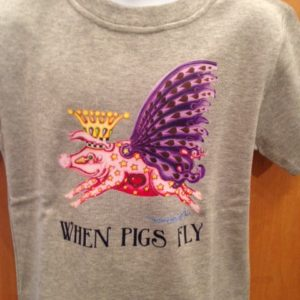 When Pigs Fly Youth 100% cotton  T-Shirt, heather grey