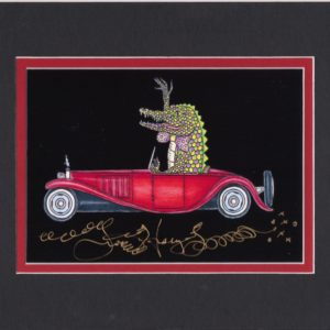 Alligator driving Bugatti, Limited Edition Fine Art Giclee, black background, signed