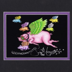 When Pigs Fly, Limited Edition Fine Art Giclee, black background, signed