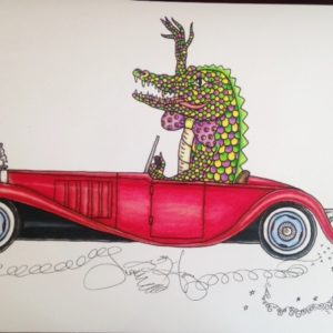 Alligator driving a Bugatti Limited Edition Fine Art Giclee, signed and remarqued 12 X 16