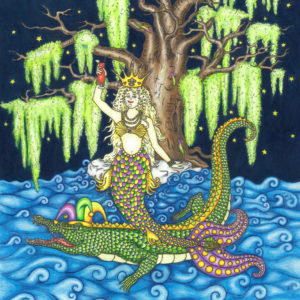 Mardi Gras Mermaid Limited Edition Fine Art Giclee, signed and remarqued 12 X 16