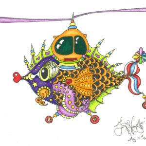 Whirly Fishcopter Limited Edition Fine Art Giclee, signed and remarqued 12 X 16
