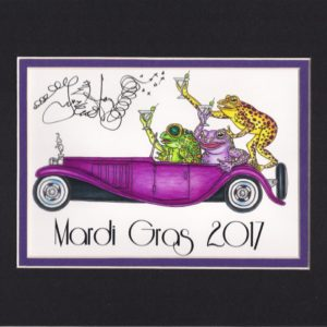 Mardi Gras 2017 Frogs Driving Bugatti, matted to fit an 8″ x 10″ frame
